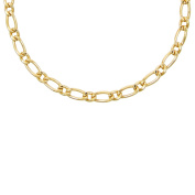 Real Alternating 1 + 1 Figaro Chain Necklace - Gold Yellow - Mens