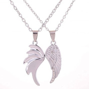Bling Stars Silver Plated Double Angel Wings Heart Pendant Necklace with 43cm Chain