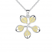 PAURO Womens Silver Plated Glow In the Dark Cute Simple Flower Pendant Necklace Length 50cm