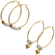 Aroncent 2 Pairs Gold Hoop Earrings Beaded Heart Shape Pendant - 4.6cm and 5.1cm