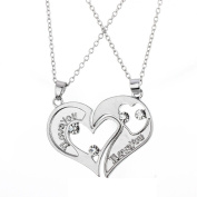 """Bling Stars 2pcs His and Hers Heart-shape """"I Love You"""" Stainless Steel Couple Pendant Necklace"""