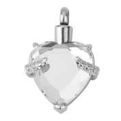 Heart Shape Crystal Cremation Jewellery Ashes Urn Pendant for Necklace