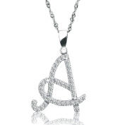 "GULICX ""A"" Letter Crystal Necklace 925 Sterling Silver Alphabet Pendant Necklace Great Gift for Women"