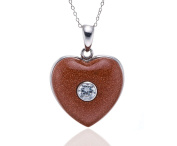 Hutang Jewellery 925 Sterling Silver White Cubic Zirconia and Gold Sand Stone Heart Shape Pendant Necklace, 18