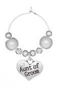Aunt of Groom Wine Glass Charm with Gift Card Handmade by Libby's Market Place