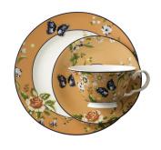 Aynsley Cottage Garden Windsor Tea Cup/Saucer and Plate Set, Orange