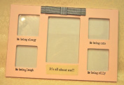 Baby Girl Pink - Its all about Me - Photo Picture Frame Cute , Silly , Sleepy , Laugh - Pink and White and Cream Multi Frame