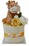Gorgeous Unisex Giraffe Themed Square Mini New Baby Nappy Cake Baby Shower Gift - with FREE UK Delivery!