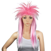 Accessotech 80s Ladies Glam Punk Rock Rocker Chick Tina Turner Wig Fancy Dress Party Costume Pink