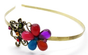 H4 Genuine Crystal Jewelled gold Tiara Alice Hair Band Multicoloured