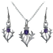 Sterling Silver Amethyst Thistle Pendant and Earrings Scottish Gift Set