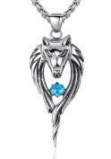 Stainless Steel Men's Tribal Wolf W. Blue Cubic Zirconia Pendant Necklace, Round Link Chain - G2096QY4