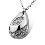 HOUSWEETY Cremation Jewellery Stainless Steel Crystal Teardrop Urn Pendant Necklace - Memorial Ash Keepsake