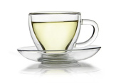 Double Walled Thermo Glass Cup and Saucer (100ml) - For Tea and Coffee