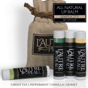 All Natural Luxury Lip Balm by L'AUTRE PEAU | Green Tea, Peppermint, Vanilla & Honey Flavours - Special 4 Pack Gift Set | Moisturiser (Natural Beeswax) | The Simplicity Lip Balm Gift Set