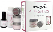 nsi Attraction Nail Acrylic System Sampler Kit (Attraction Nail Liquid,Radiant Pink+White+Totally Clear Nail Powder,Attract