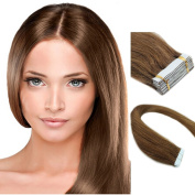 Yotty Human Hair Extensions Tape in Pu Skin Weft Straight Remy Hair #6 Chocolate Brown 41cm 20Pcs
