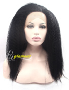 Riglamour Kinky Straight Synthetic Lace Front Wig for Black Women Heat Resistant 100% Fibre Hair #1B