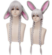 Anogol Ears+Women's Fashion Silver Grey Grey Cosplay Wig for Party Lolita Harajyuku Layered Fancy Dress Hair Wigs DM-923