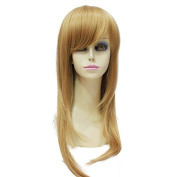 Capless Side Bangs Long Straight Heat Resistant Fibre Synthetic Hair Womens Wig