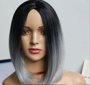 "17.7"" 45cm Black to Grey Ombre Wig for Women Heat Resistant Full Bob Style Wig"