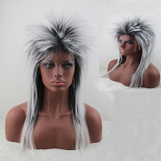 Women's 80's to the Maxx Spiky Rocker Wig Rock Star White Spiked Wig