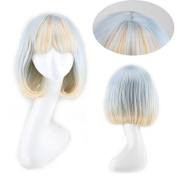 """15"""" 38cm Ombre White Blue Pink Bob Wig Realistic Cute Wigs with Bangs Hair Cut"""