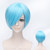 Coolsky 30cm Short Ice Blue Colour Wig For Women Cosplay Wig Nature Beauty