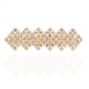 Square Style Crystal Barrettes Metal Ponytail Holder Hair Clips Hairpin