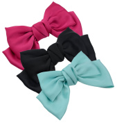 3-Pack Fashion Double-Deck Chiffon Large Solid Colour Bowknot Hair Clip Women Girls Headband Hair Bow Accessories HC2176