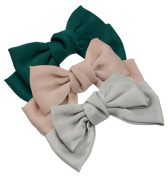 3-Pack Fashion Double-Deck Chiffon Large Solid Colour Bowknot Hair Clip Women Girls Headband Hair Bow Accessories HC2175