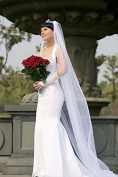 Bridal Wedding Veil Ivory 1 Tier Long Cathedral Length With Rhinestone Edge