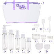 Travel Bottle Set - Refillable - TSA/Airline Approved - 8 Bottles and 9 Jars - 3 Tools (Pipette, Funnel and Mini Spatula) - For Downsized Portions of Your Favourite Cosmetics, Lotions and Creams