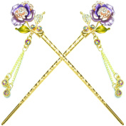 YOY Fashion Hair Decor Chinese Traditional Style Hair Sticks Shawl Pins Picks Pics Forks for Women Girls Hair Accessory 15cm with Enamel Flower Set of 2, Purple