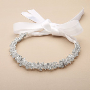 Mariell Slender Bridal Headband with Hand-wired Crystal Clusters, Silver Petals and White Satin Ribbons