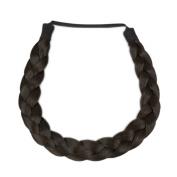 Milano Collection PREMIUM Braided Hairband 1.3cm Inch Thick - Dark Brown