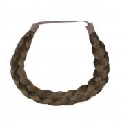 Milano Collection PREMIUM Braided Hairband 1.3cm Inch Thick - Medium Brown