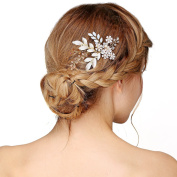Nymph Code Bride Clear Crystal Flower Leaf Rhinestone Decorative Hair Combs for Women Styling Gold Tone