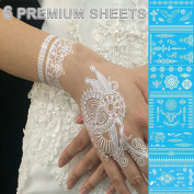 GIFT!! New Tastto 6 Sheets Henna Body Paints Jewellery Temporary Tattoos White Lace Stickers for Girls and Women with GIFT