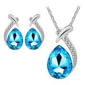 Bestpriceam Women Crystal Pendant Silver Plated Chain Necklace Stud Earring Jewellery Set