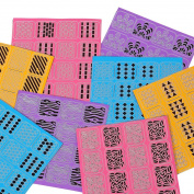 BMC 8 Sheet Nail Art Manicure Vinyl Guide Stickers Set - Pulling Shapes