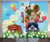 Ambesonne Circus Decor Collection, Clowns Vintage Car and Circus Big Top Daisies Flowers Heart in Meadow Fun Design, Window Treatments for Kids Girls Boys Bedroom Curtain 2 Panels Set, 270cm X 160cm