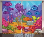Ambesonne Whale Decor Collection, Underwater World Aquarium Cartoon Octopus Reef Sand Seaweed Stones Bubbles Design, Window Treatments for Kids Girls Boys Bedroom Curtain 2 Panels Set, 270cm X 160cm