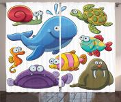 Ambesonne Whale Decor Collection, Group of Underwater Animals Sea Otter Slug Snail Summer Day Art Design, Window Treatments for Kids Girls Boys Bedroom Curtain 2 Panels Set, 270cm X 160cm , Blue Purple