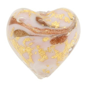 Heart 13mm Gold Foil Murano Glass Bead Pale Pink and Aventurina, Marmo