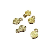 Foxy Findings 10 Pieces Tiny Spiral Flat Round Charms, 24K Gold Plated, Pendant Findings - CMISCG013