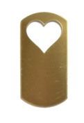 RMP Stamping Blanks, 2.5cm x 5.1cm Dog Tag With Heart, Brass, .80cm / 20 Guage - 20 Pack