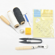 Bluemoona 9 Pcs -Awl Needles & Thread beeswax thimble ring Seam Ripper Leather Craft Sewing Tools