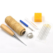 Bluemoona 6 Pcs - Awl Needles & Thread beeswax thimble ring Seam Ripper Leather Craft Sewing Tools Beige