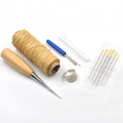 Bluemoona 5 Pcs - Awl Needles & waxed Thread thimble ring Seam Ripper Leather Craft Sewing Tools Beige